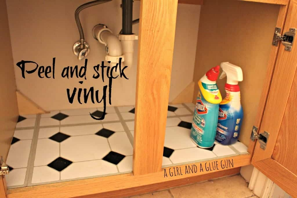 peel and stick vinyl under the sink