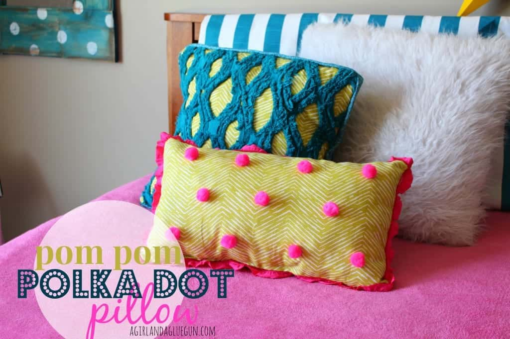 pom pom polka dot pillow a girl and a glue gun