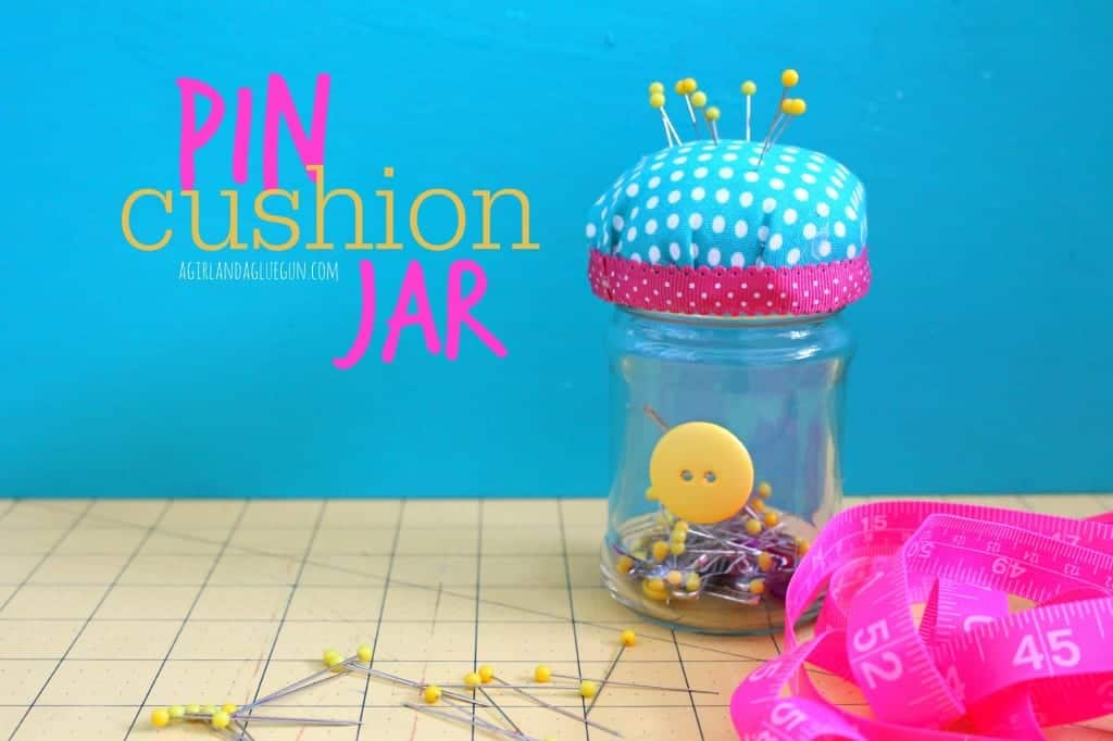 pin cushion jar with hot glue