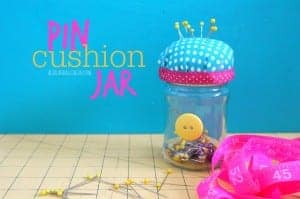 pin cushion jar with hot glue