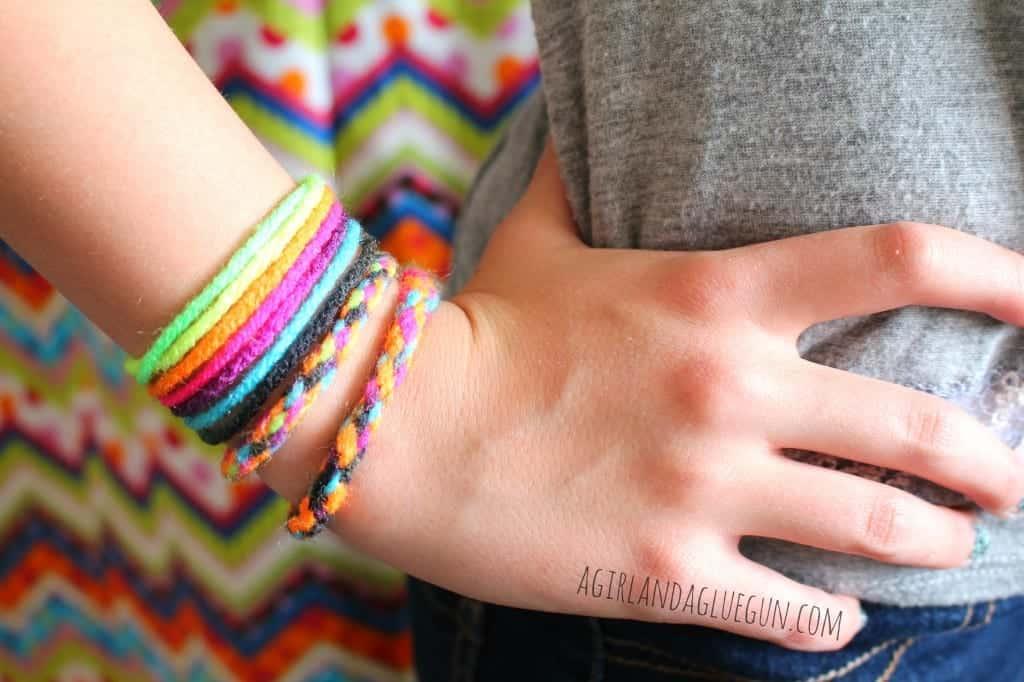 yarn bracelets a girl and a glue gun