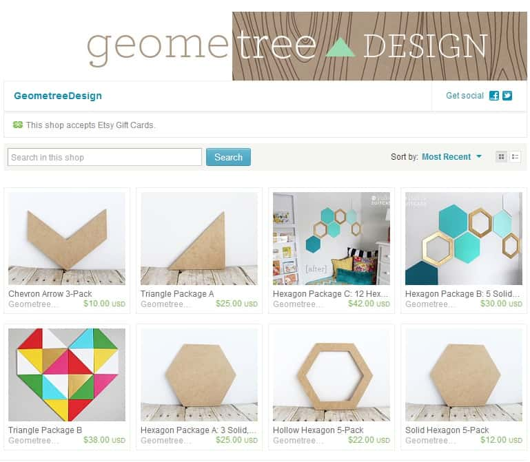 Etsy Shop_Geometree_screen shot
