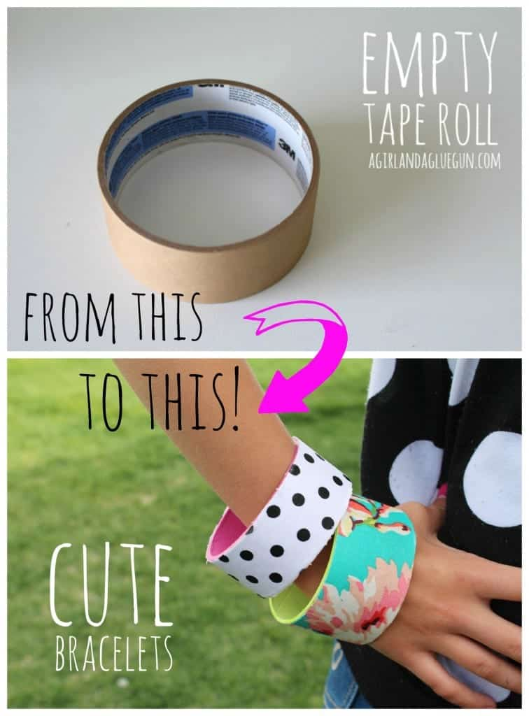 empty tape roll to cute bracelet (with mod podge!) a girl and a glue gun