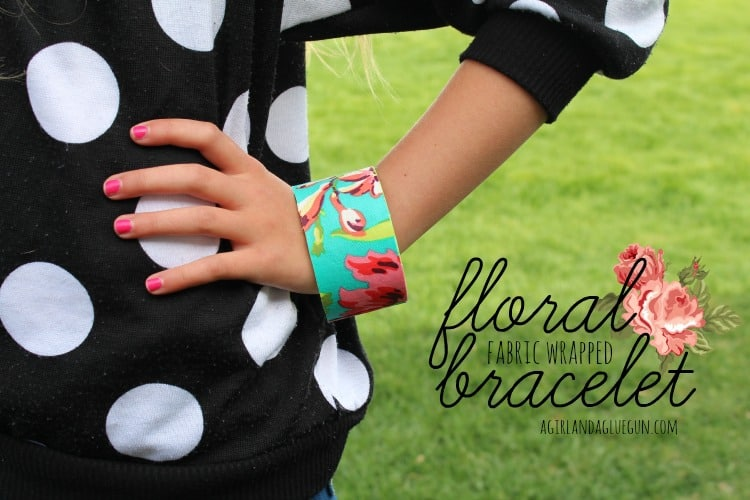 fabric wrapped floral bracelet