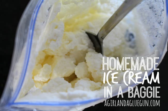 homemade ice cream in a baggie