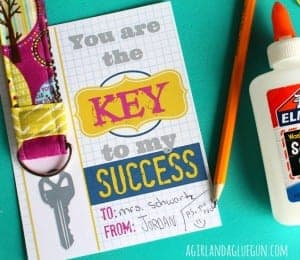 Key to my success–free teacher printables with keychain