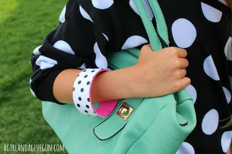 polka dot diy bracelet with mod podge