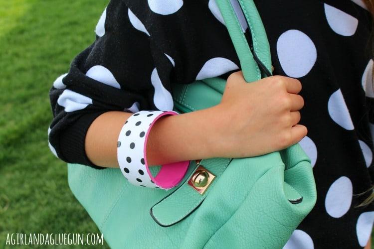 polka dot diy bracelet with mod podge