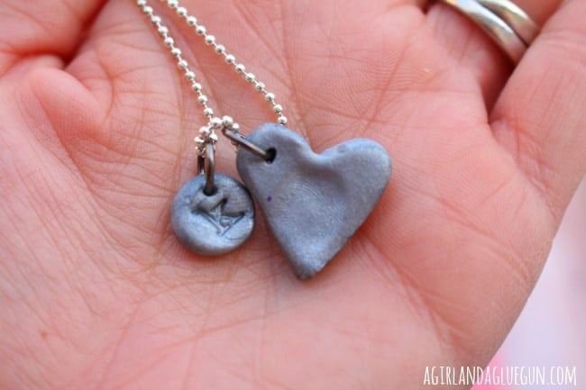 sculpey heart fingerprint necklace for mommy
