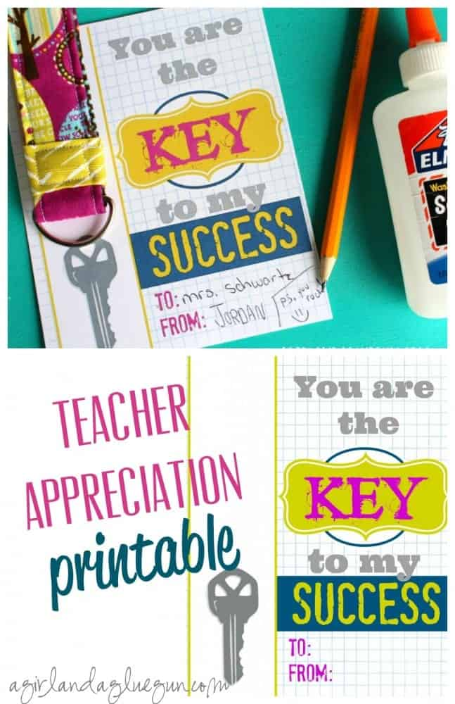 teacher appreciation printable--key to my success
