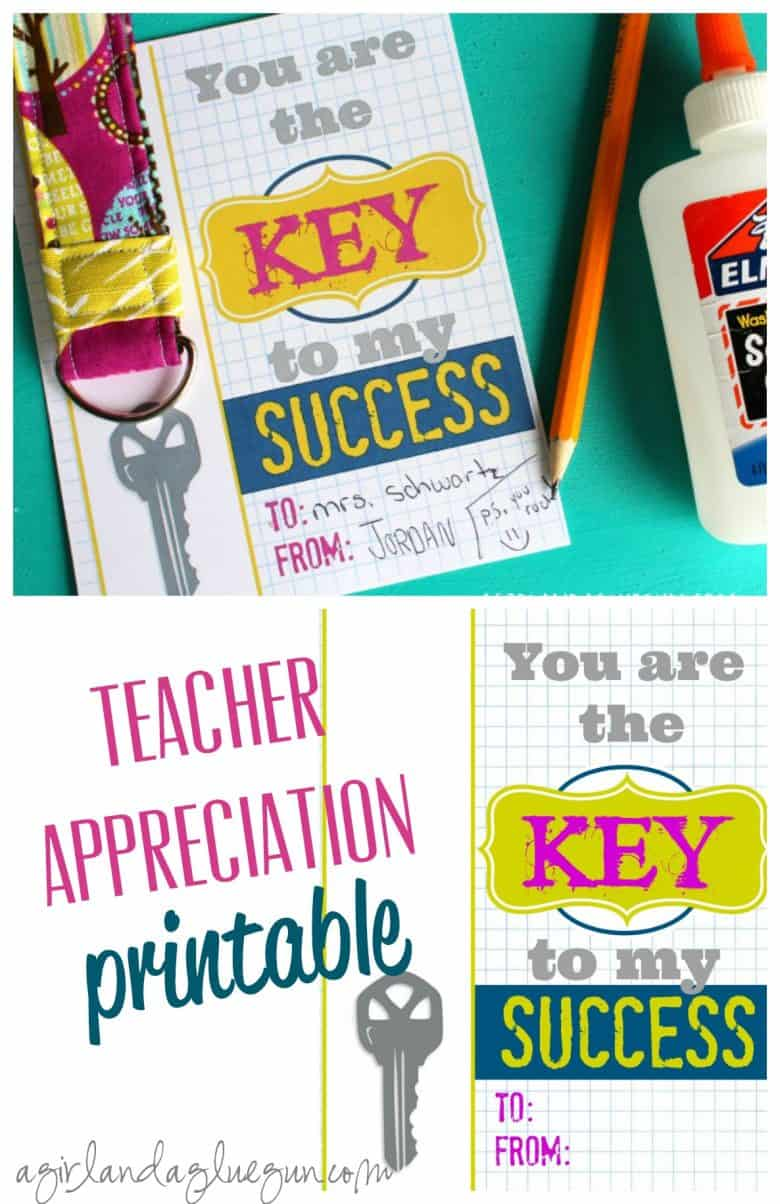 Key to my success-free teacher printables with keychain - A