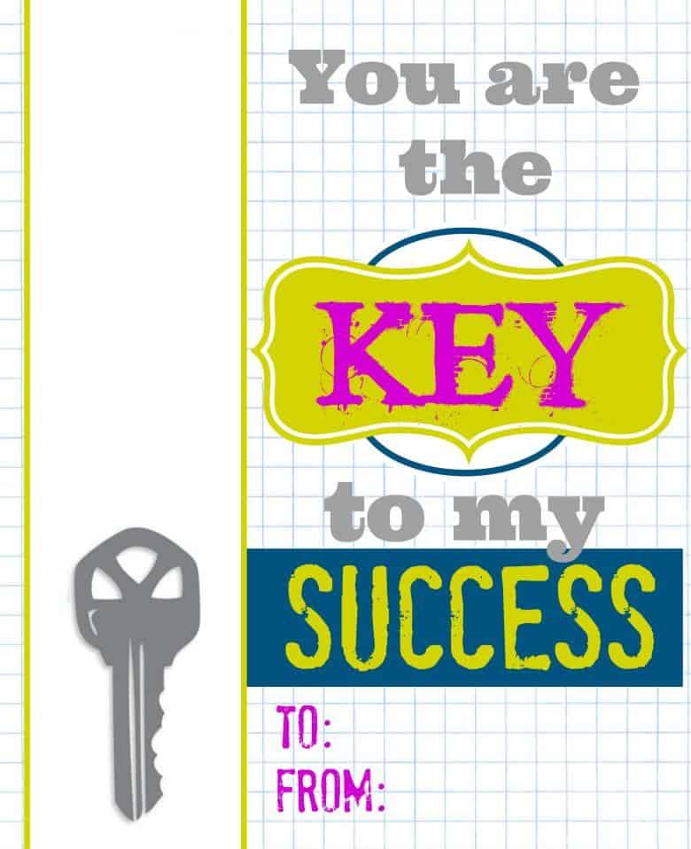 Key To My Success Free Teacher Printables With Keychain