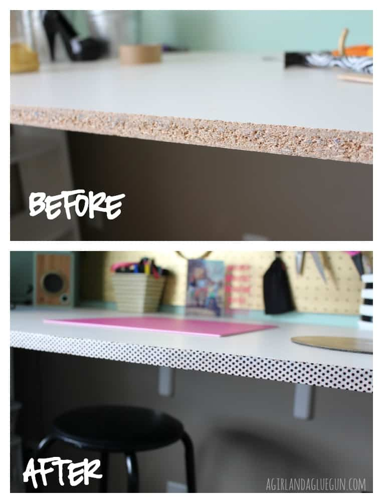 before and after with washi tape along desk edge!