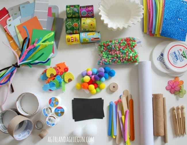 bored box craft supplies from around the house