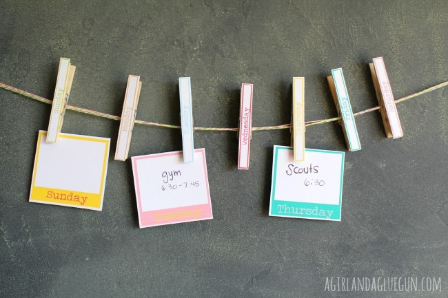 clothespin craft--weekly calendar
