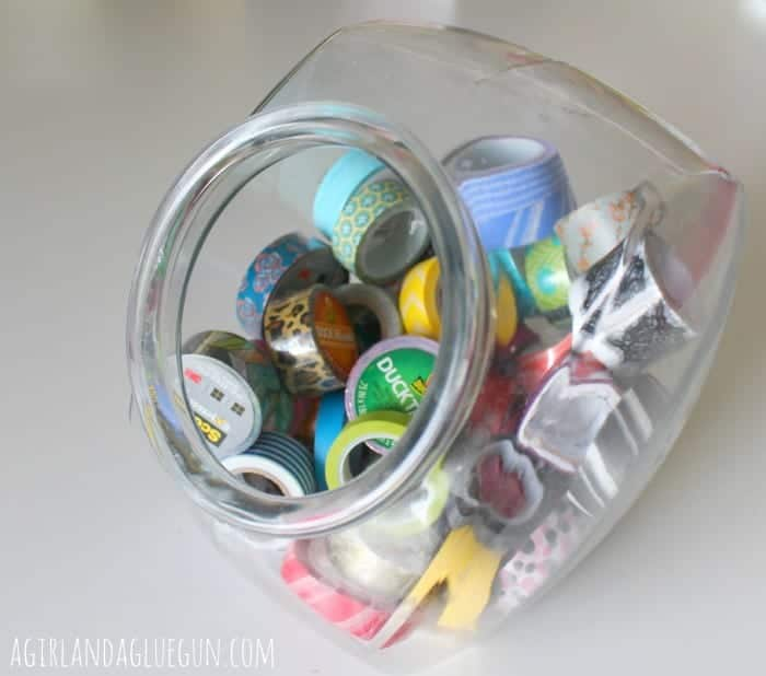 cookie jar to store washi tape