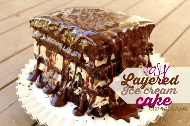And this is the easy peasy way to make a layered ice cream cake