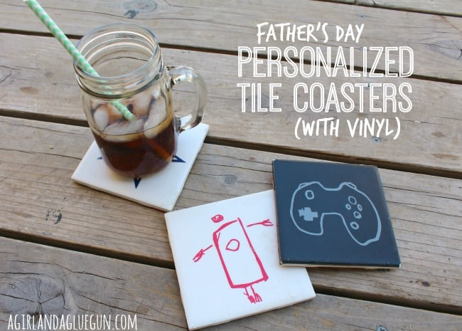 father's day personalized tile coasters made with vinyl!