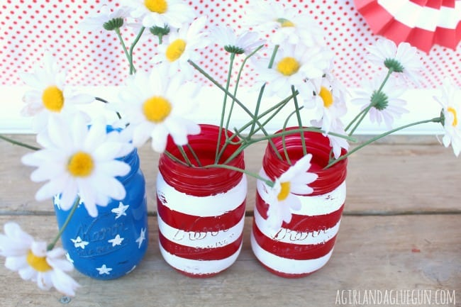 patriotic vase out of mason jar