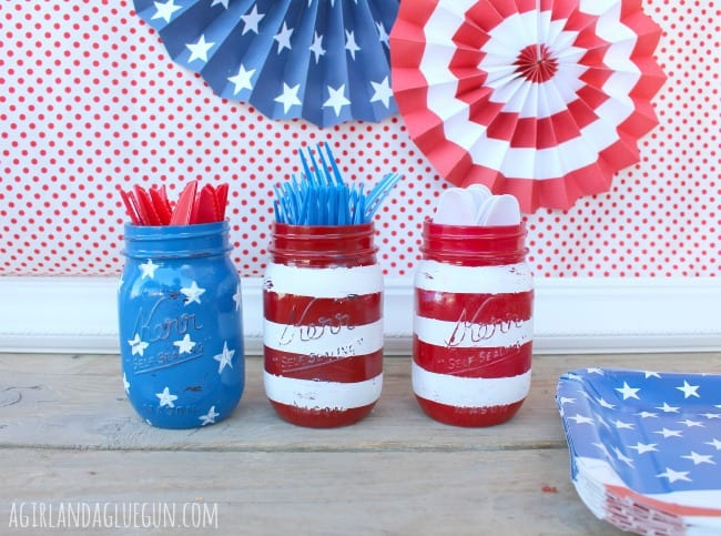 red white and blue painted flag mason jar