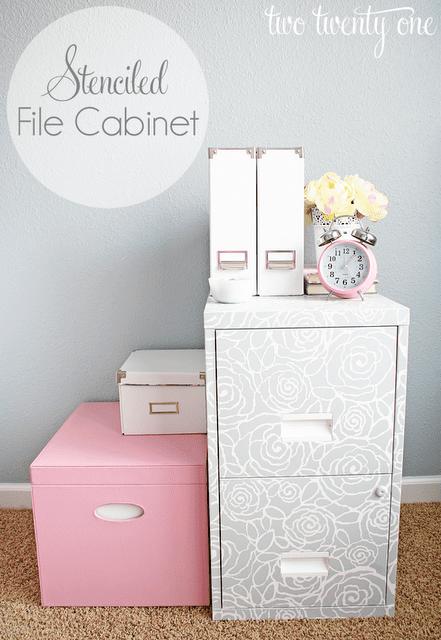 stenciled+file+cabinet