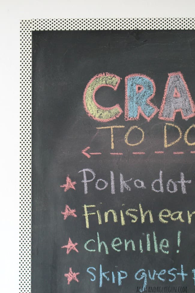 washi tape around chalkboard