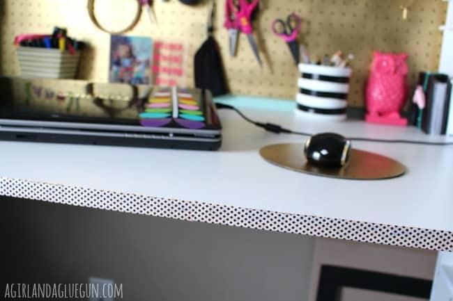 washi tape to finish desk edge