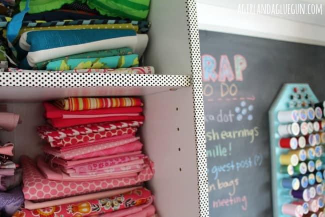washi wrapped around bookshelf edge