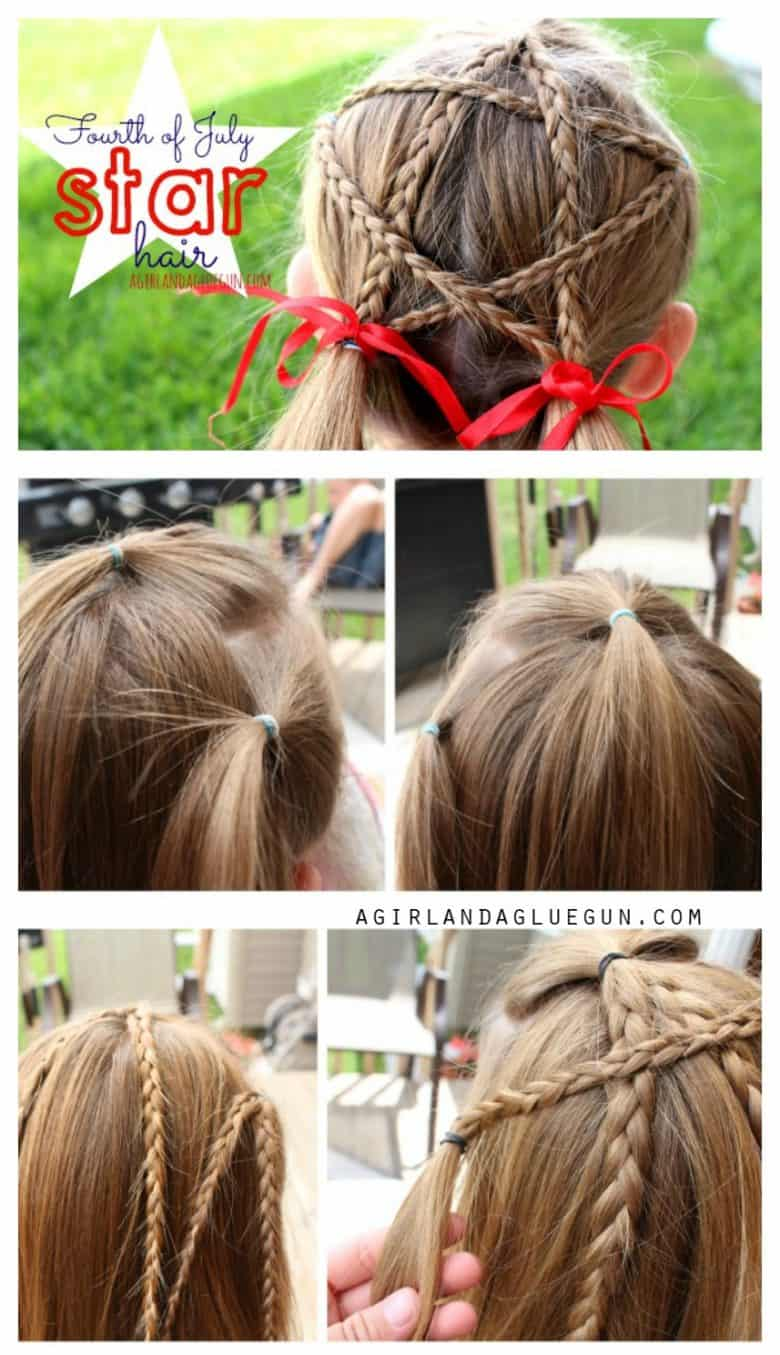 Fourth Of July Hairstyles Fourth Of July Star Hair A Girl And A Glue Gun