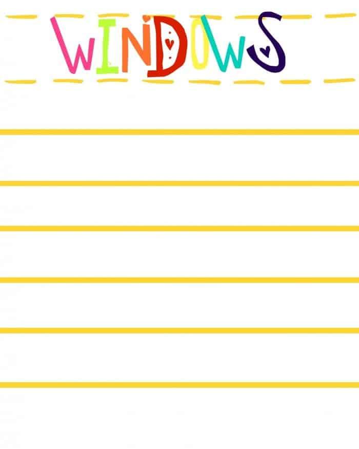 WINDOWS FREE PRINTABLES
