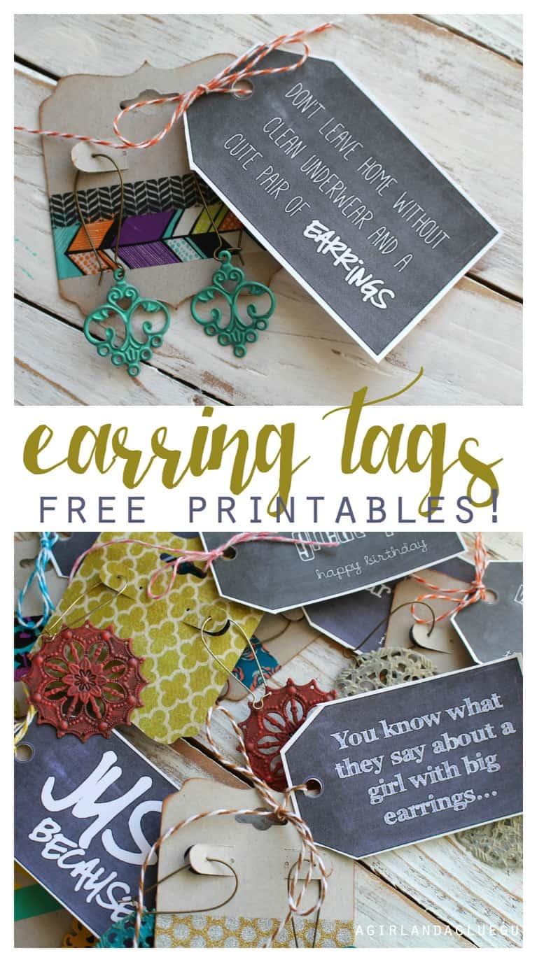 earring tag wtih free printables