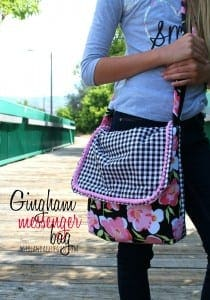 gingham girly messenger bag
