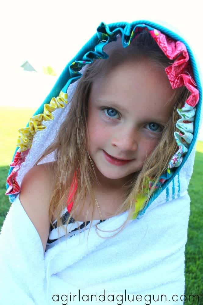 hooded towel with ruffles