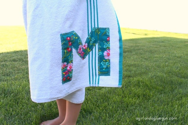 initial on hooded towel