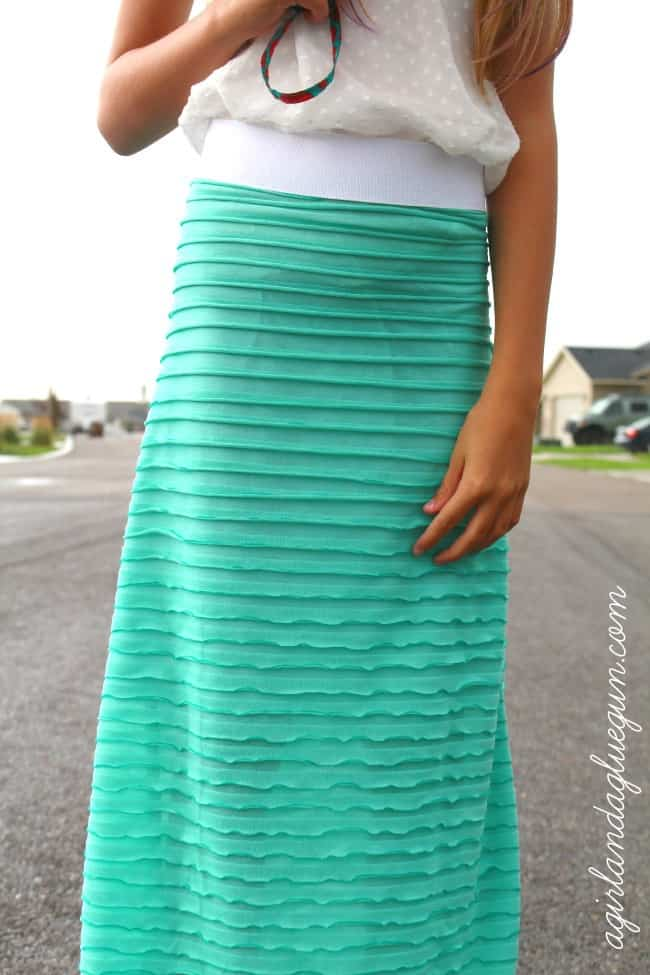 The Easiest Maxi Skirt Using Ruffle Fabric A Girl And A