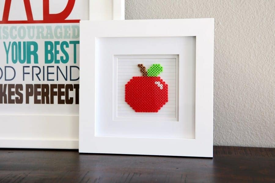 perler bead apple frame