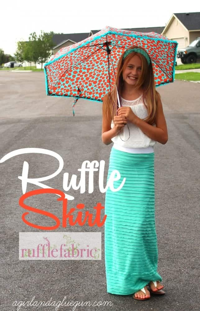 ruffle skirt with ruffle fabric--a girl and a glue gun
