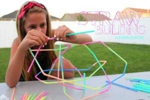 straw building kid craft funner in the summer series!