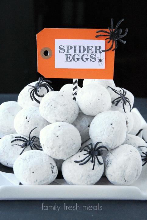Donut-hole-Spider-Eggs-Halloween-Food-Halloween-Appetizer-FamilyFreshMeals.com_