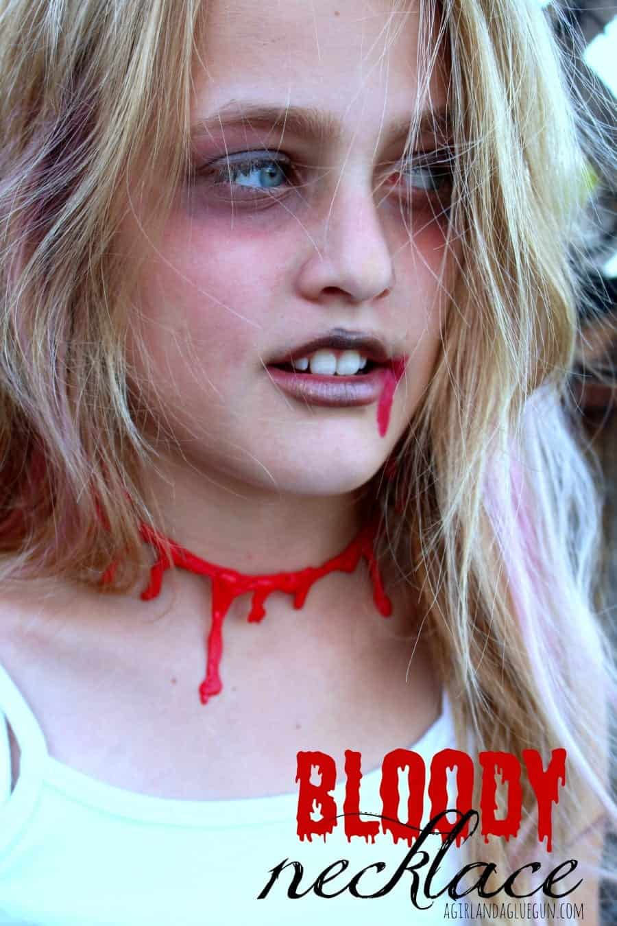 bloody necklace with hot glue