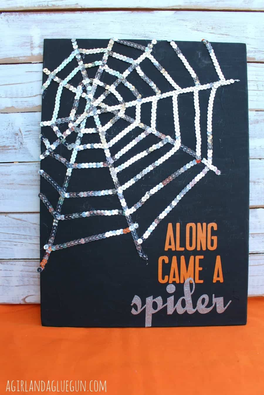 diy halloween sequin spider web