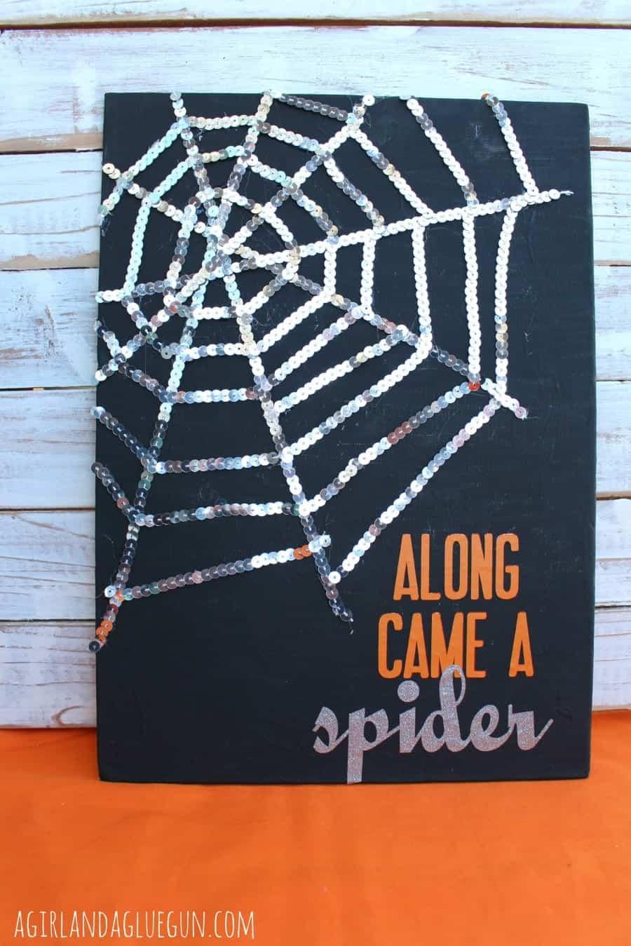 diy halloween sequin spider web