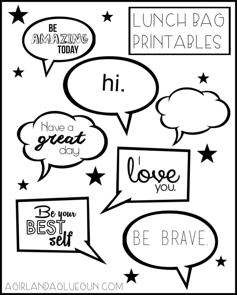 lunch bag printables
