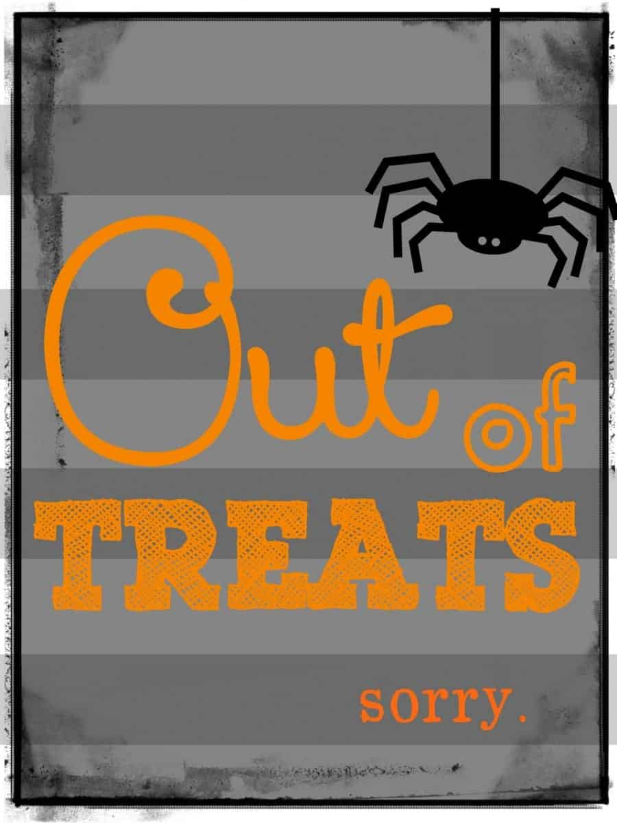 out of treats printables orange