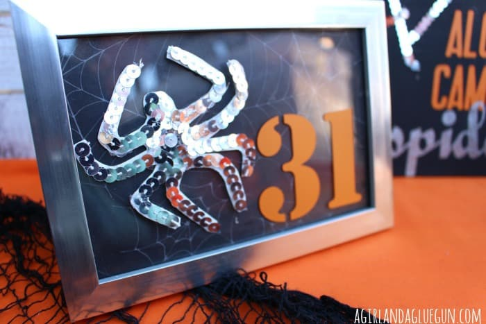sequin spider and halloween frame