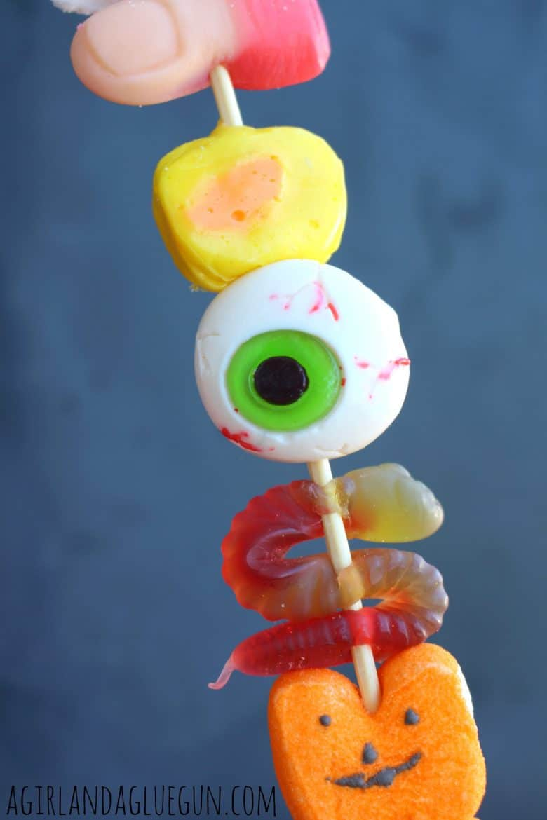 halloween candy skewers - A girl and a glue gun