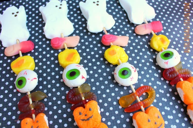 closeup of eyeball skewer halloween candy