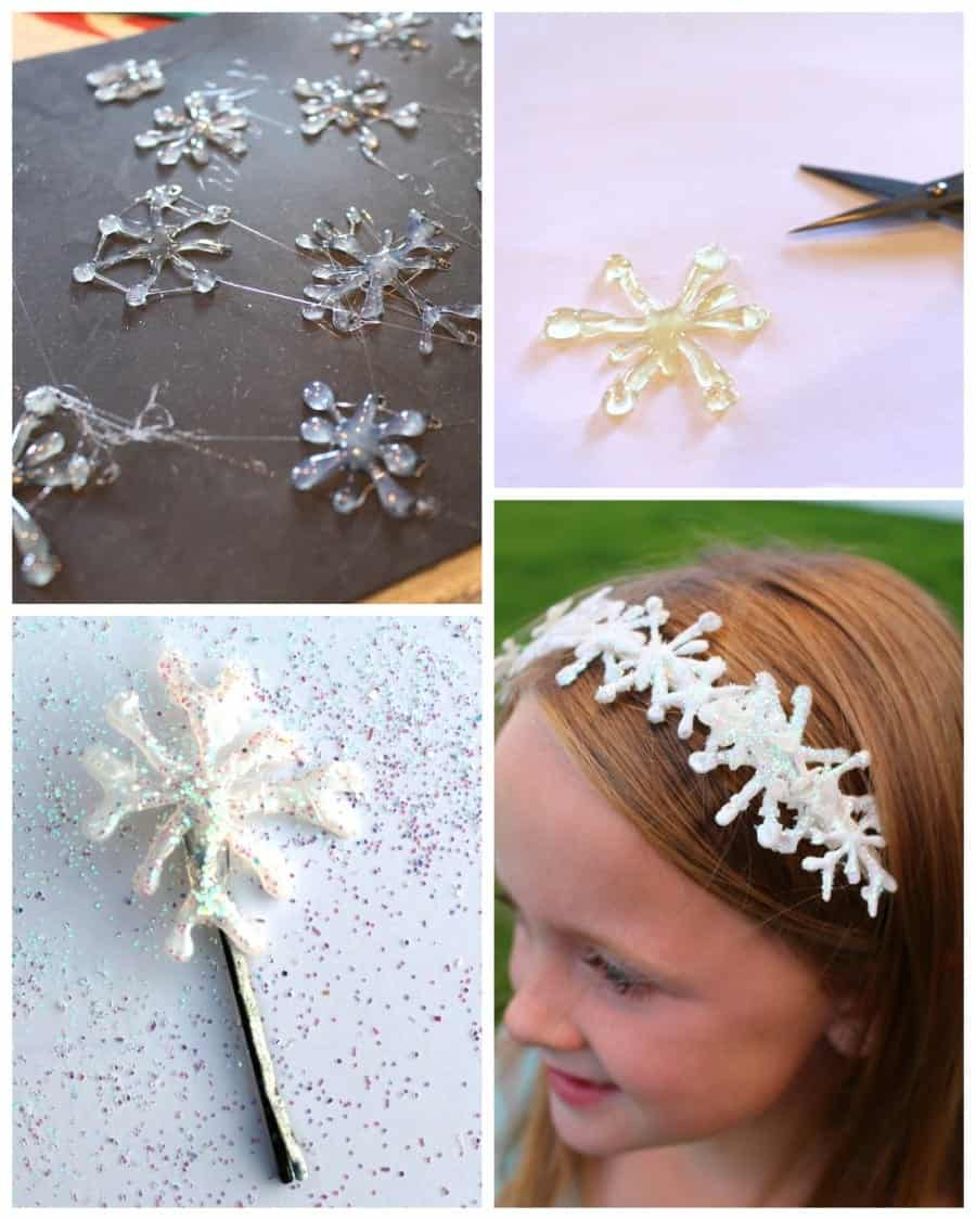 Frozen Snowflakes Hair Clips Using Hot Glue A Girl