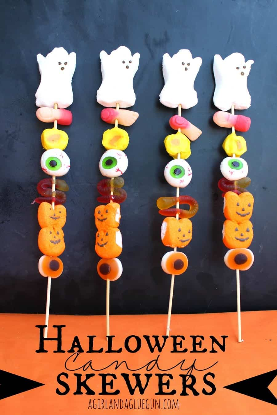 halloween candy skewers-fun treat! a girl and a glue gun