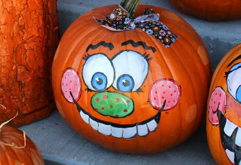 Girly Painted Pumpkin Faces